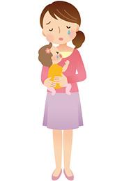赤ちゃんを抱いて泣いている女性